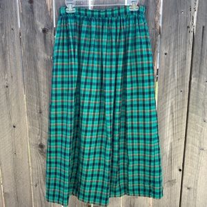 Vintage Green Plaid Maxi Shirt with pockets size M